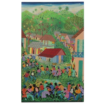 Inatace Alphonse Haitian Folk Art Oil Painting of a Village Scene