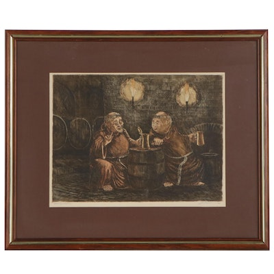 Marianne L. Almasy Hand-Colored Etching of Monks Drinking