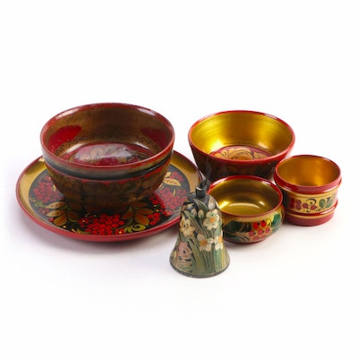 Hand-Painted Russian Lacquerware Plate, Bowls, and Bell