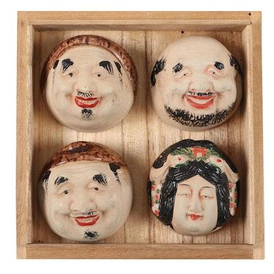 Japanese Hand-Painted Ceramic Figural Sake Cups, Vintage