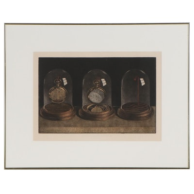 "Byron H. Bratt Color Etching with Mezzotint ""The Past, Present and Future,"" 1979"