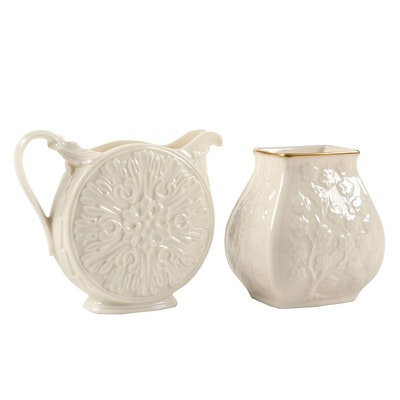 """Lenox """"Woodland Collection"""" Porcelain Pitcher and Other Vase, 1983–1999"""