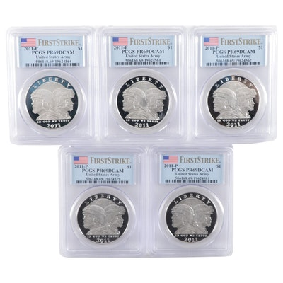 Five PCGS Graded PR69DCAM 2011-P U.S. Army Commemorative Silver Dollars