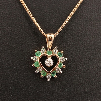 Sterling Silver Emerald and Diamond Heart Necklace