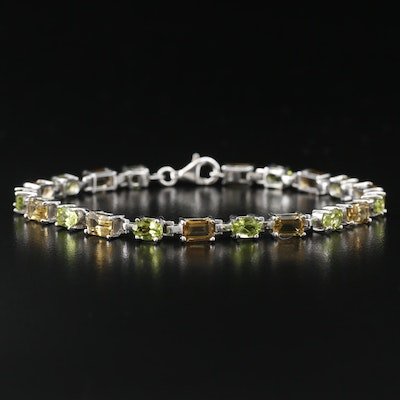 Sterling Citrine and Peridot Line Bracelet
