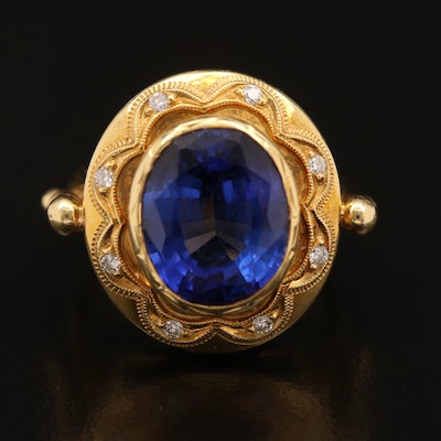 Andrew Sarosi 18K 7.90 CT Tanzanite and Diamond Halo Ring