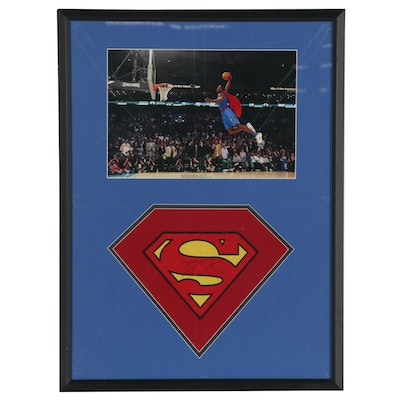 "Dwight Howard Signed ""Superman"" ""S"" Display, Framed"