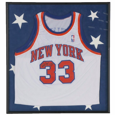 Patrick Ewing Autographed New York Knicks Replica Jersey, Framed