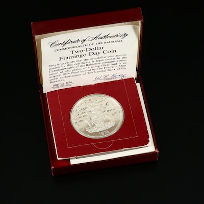"1974 Bahamas ""Flamingo"" $2 Sterling Silver Coin Issued by The Franklin Mint"