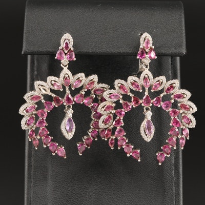 Sterling Rhodolite Garnet, Amethyst, and Cubic Zirconia Dangle Earrings
