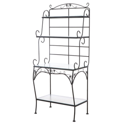 Painted Metal Four-Tier Baker's Rack with Glass Shelves