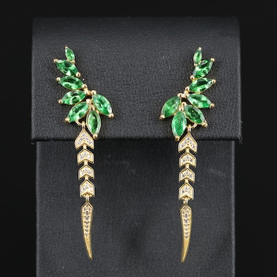 Sterling Tsavorite and Cubic Zirconia Dangle Earrings