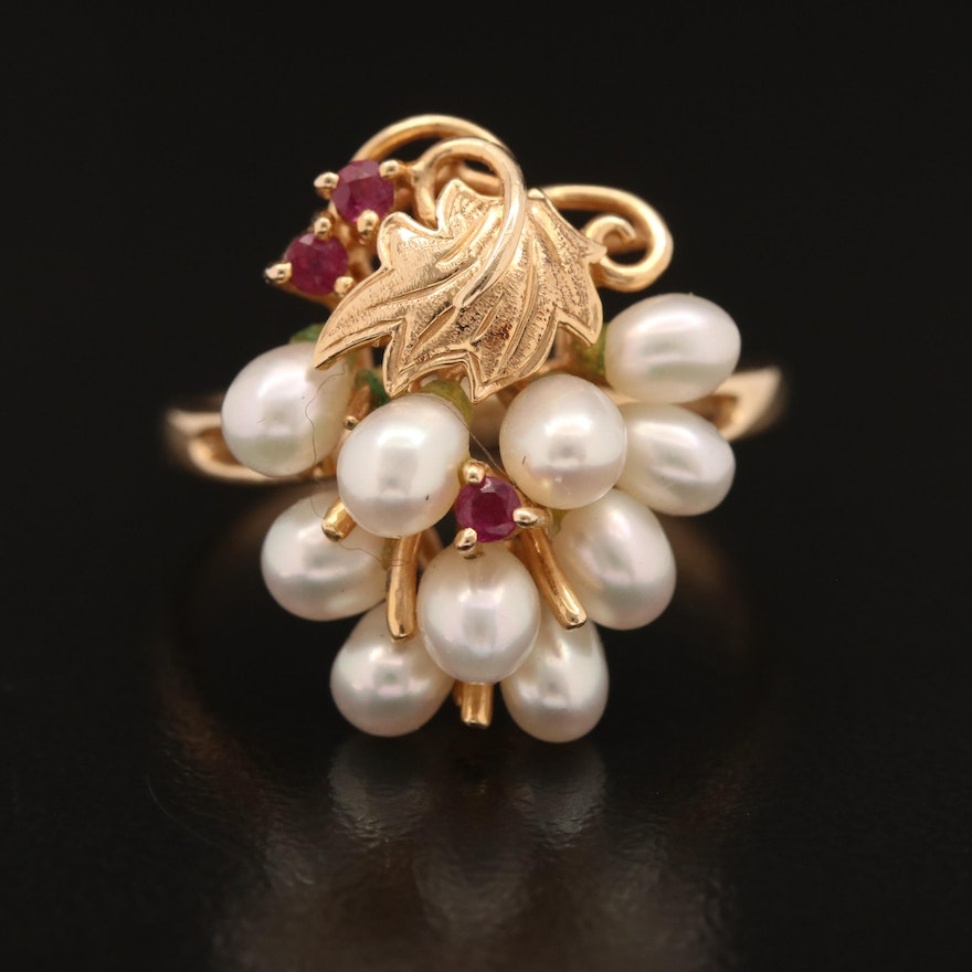 14K Pearl and Ruby Grape Cluster Ring