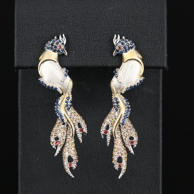 Sterling Silver Colorful Sapphire Peacock Earrings