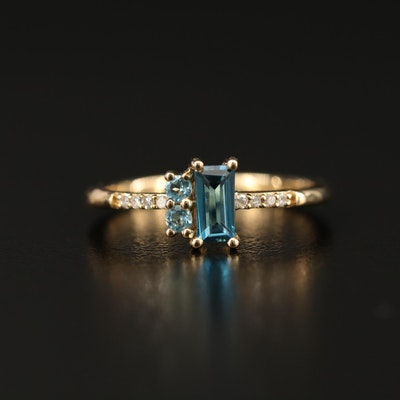 10K Topaz and Diamond Ring