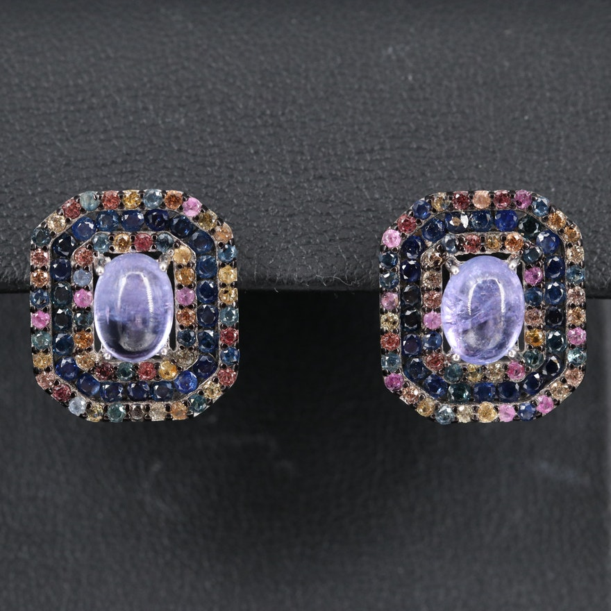Sterling Silver Tanzanite and Sapphire Double Halo Earrings