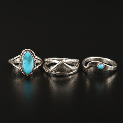 Tom H. Begay Navajo Diné Sterling Silver Turquoise with Southwestern Style Rings