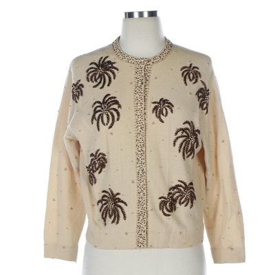 Bead Embellished Beige Knit Cardigan with Pearlized Buttons