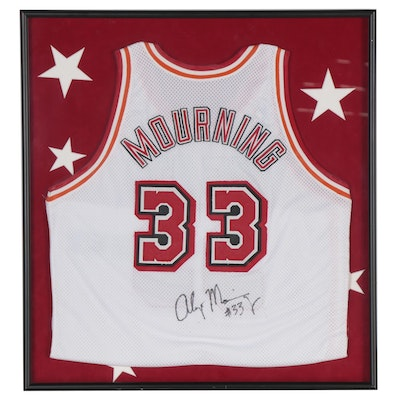 Alonzo Mourning Autographed Miami Heat Replica Jersey, Framed