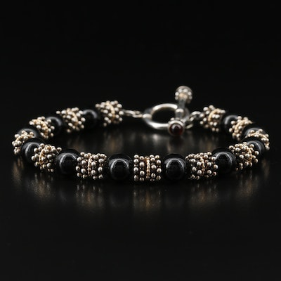 Sterling Silver Black Onyx and Glass Bracelet
