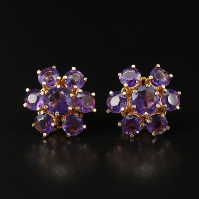 14K Amethyst Cluster Earrings
