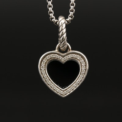 David Yurman Sterling Silver Black Onyx and Diamond Heart Pendant Necklace