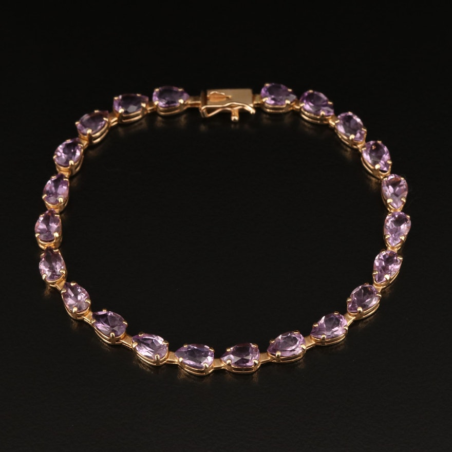 14K Amethyst Line Bracelet