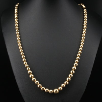 14K Graduated Bead Necklace