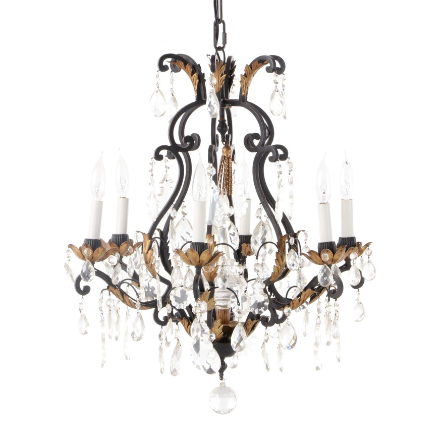 Italian Rococo Style Wrought Iron Chandelier, Late 20th Century