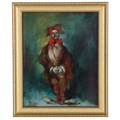 Harold Watt Oil Painting of a Clown, 20th Century