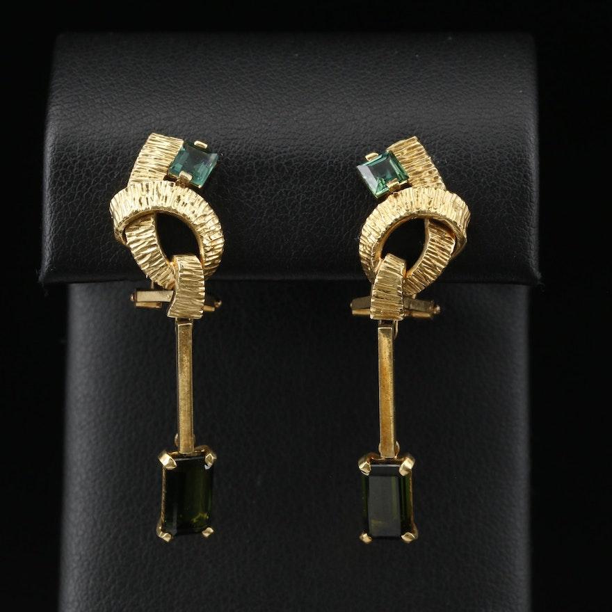 18K Tourmaline Non-Pierced Dangle Earrings