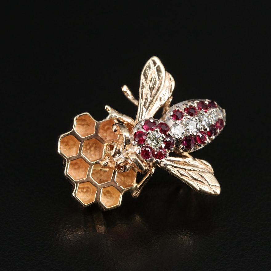 14K Diamond and Ruby Bee on Honeycomb Brooch