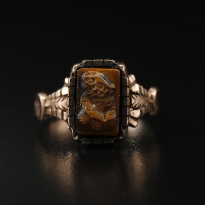 Victorian 9K Tiger's Eye Cameo Ring