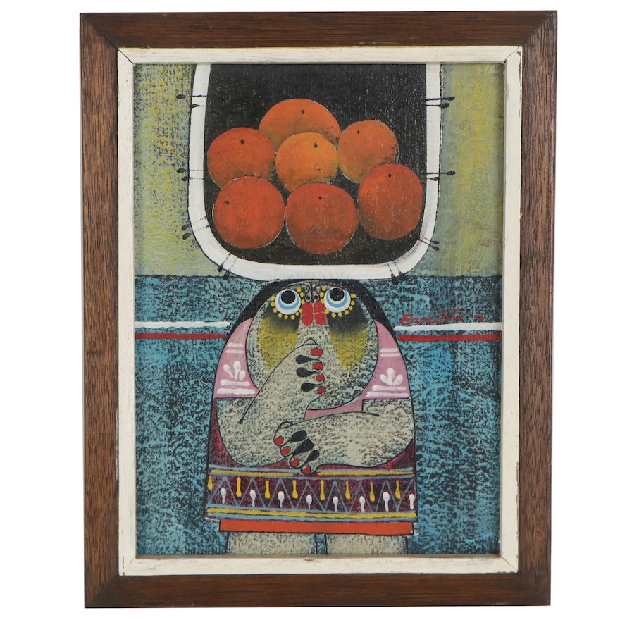 Oil Painting of Figure with Fruit, 1970