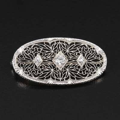 Edwardian Krementz Platinum and 14K Diamond Filigree Brooch