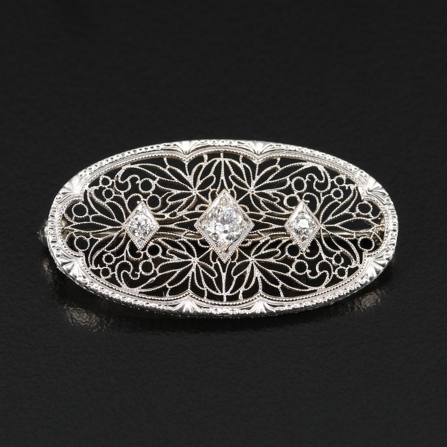 Edwardian Krementz Platinum and 14K Diamond Filigree Brooch
