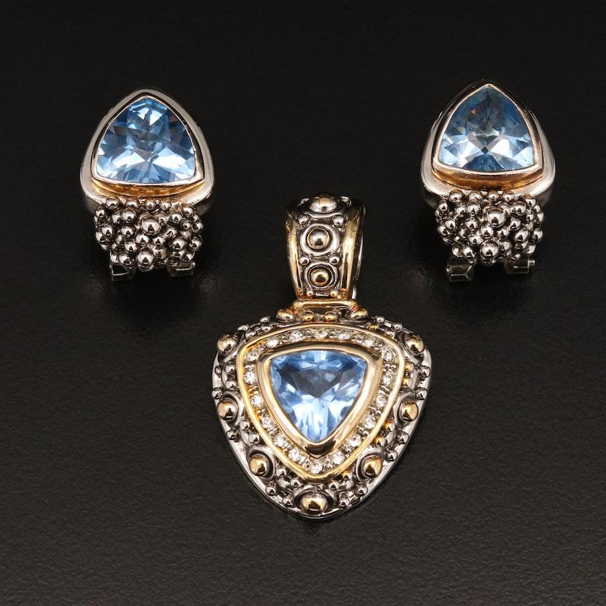 Glass Enhancer Pendant and Drop Earrings
