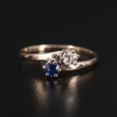 Vintage 9K Diamond and Sapphire Bypass Ring