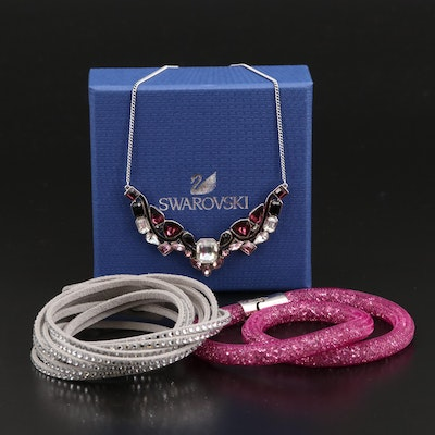 Swarovski Impulse Multicolor Stationary Necklace, Stardust and Suede Bracelets