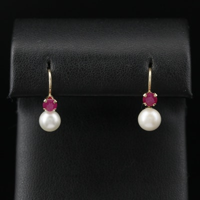 14K Pearl and Ruby Drop Earrings