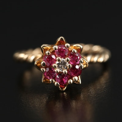 14K Diamond and Ruby Floral Tulip Setting Ring
