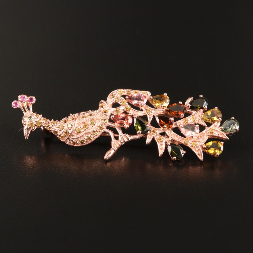 Sterling Tourmaline, Ruby, Sapphire and Diopside Peacock Brooch