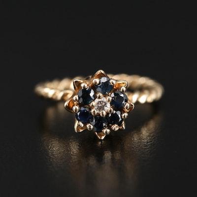 14K Diamond and Sapphire Tulip Setting Ring
