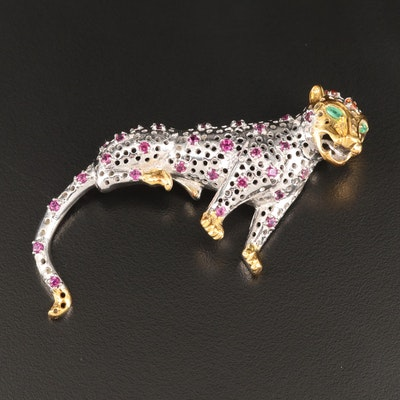 Sterling Silver Emerald, Sapphire and Garnet Jaguar Brooch