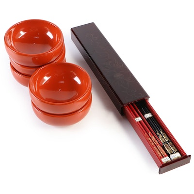 Set of Five Red Lacquer Bowls and Two Pairs Chopsticks in Ornate Box, 21st C