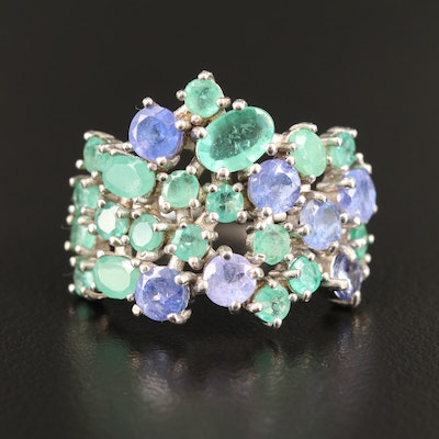 Sterling Emerald and Tanzanite Cluster Ring