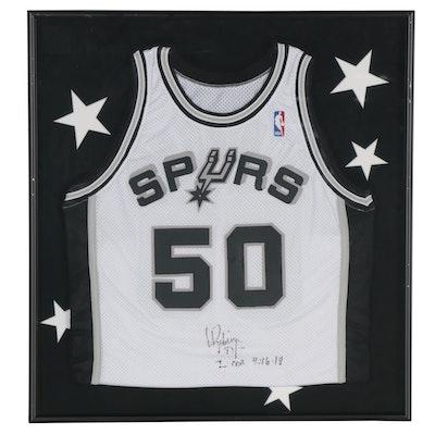 David Robinson Signed San Antonio Spurs Replica Jersey, Framed