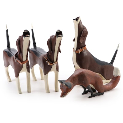 Hand-Carved and Hand-Painted Wood Fox and Hound Figurines