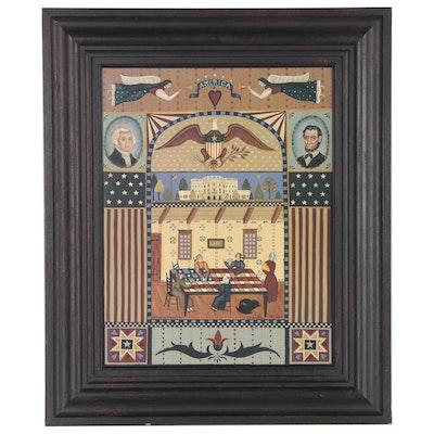 "Maria Pfropper Folk Art Americana Offset Lithograph ""Liberty"""
