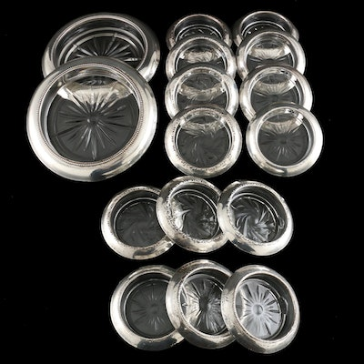 Frank M. Whiting and Amston Sterling Silver and Glass Coasters, Mid 20th C.